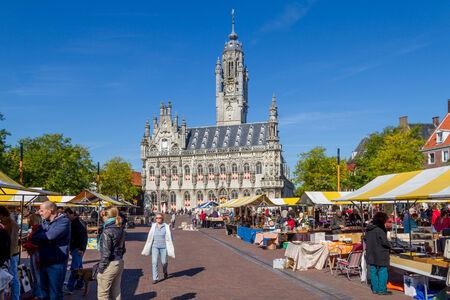Flea market at the  marketplace of Middelburg