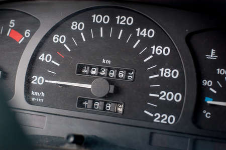 A speedometer of a car. Max speed 220 km/h.