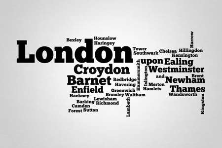 London Word cloud with boroughs of the city