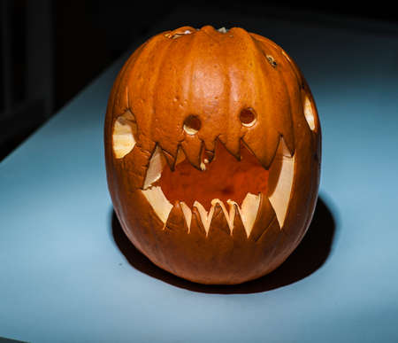 Carved out and scary pumpkin.