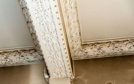 Stucco decorations revealed during renovation. Stockfoto