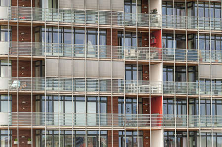 Details of balconies at an apartment complex. Stockfoto