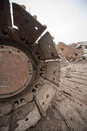 Detail of the belts of an excavator.