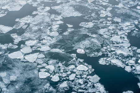 Broken up ice in a fjord seen from above Banco de Imagens