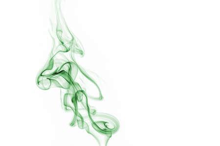 Green smoke on white background.