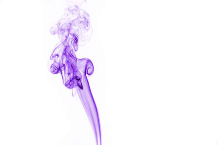 Purple smoke on white background.