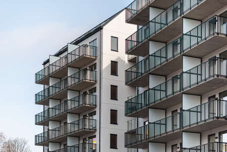 Newly constructed apartment buildings ready for new tennants.