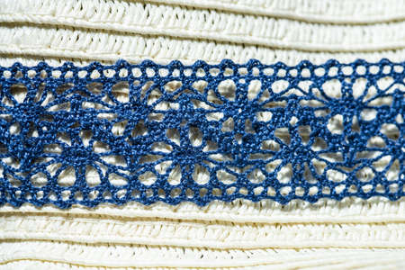 Blue crocheted band. 写真素材