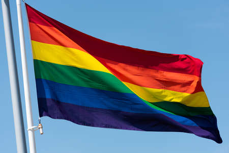 Rainbow flag waving in the breeze.