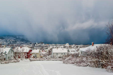 Trondheim, Norway - December 19 2004: Heavy snowfall incoming.