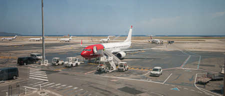 Nice , France - July 9 2008: Norwegian Boeing 737-86N SE-RHA (LN-NOM, TC-APF) on the apron at Nice airport.