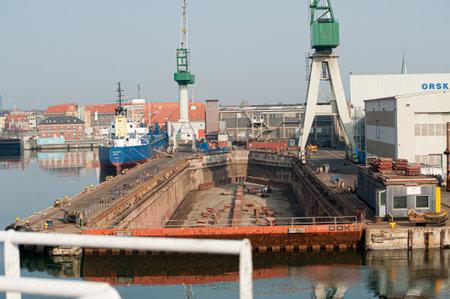 Frederikshavn , Denmark - April 22 2011: Dry dock at Orskov yard.
