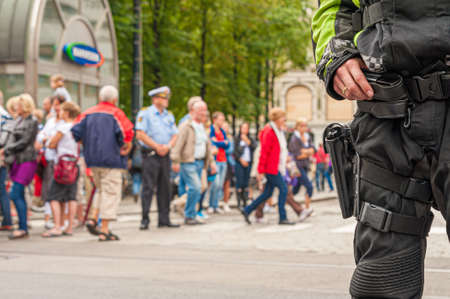 Oslo, Norway - July 24 2011: Armed police guarding the streets of Oslo.