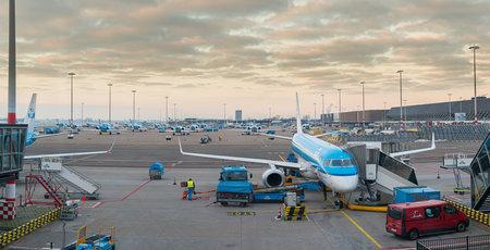 Schiphol , Netherlands - February 13 2013: KLM Cityhopper Embraer Emb-190-100LR (PH-EZG) at Schiphol gate B20. Editorial