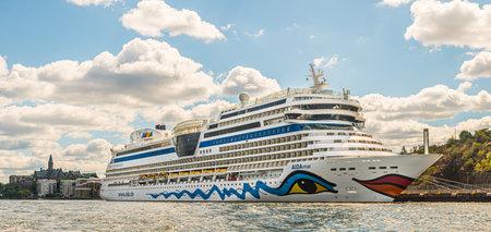 Stockholm, Sweden - July 05 2018:  Cruise ship Aidamar, IMO 9490052, docked at Masthamnen.