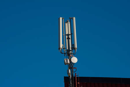Antennas for mobile telecommunications on a building.