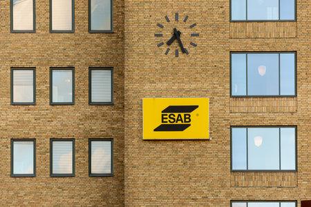 Gothenburg, Sweden - August 24 2020: Logo of ESAB company in a brick wall