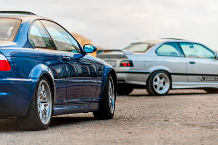 Lindesnes, Norway - October 15 2011: Two BMW M3, one blue E46 and a silver E36. 에디토리얼