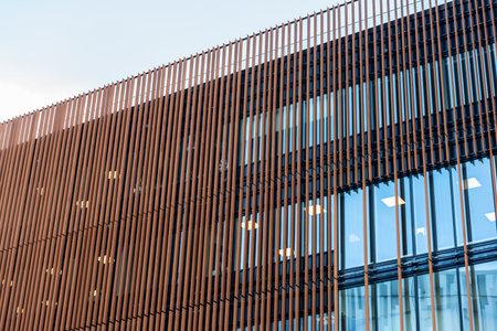 Göteborg, Sweden - October 09 2020: Rusty facade of a new office building