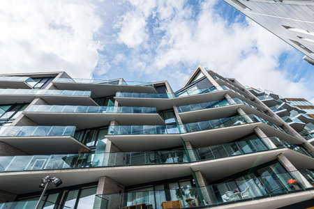 Oslo, Norway - June 18 2016: Balconies on a newly built luxury apartment complex