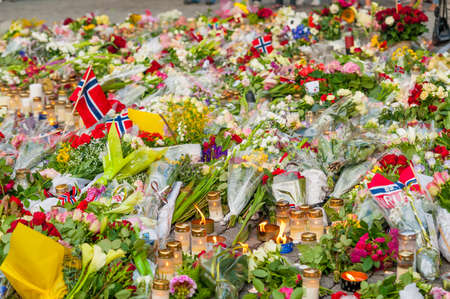 Göteborg, Sweden - July 23 2011: Near endless amount of flowers with norwegian flags.