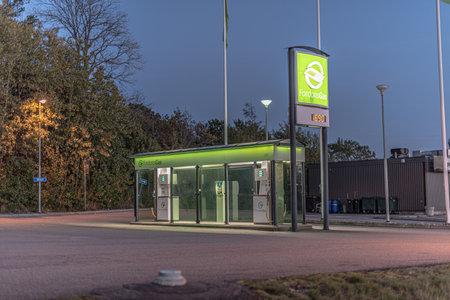 Gothenburg, Sweden - October 15 2020: CNG filling station at night