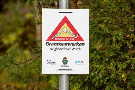 Mölndal, Sweden - October 17 2020: Grannsamverkan, Neighbourhood watch sign
