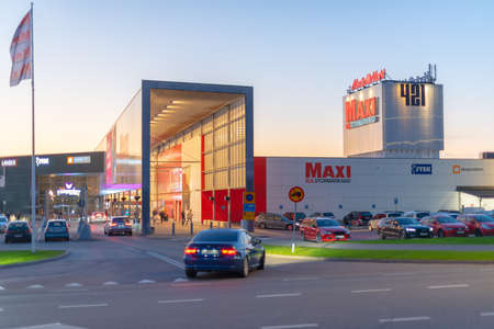 Gothenburg, Sweden - October 15 2020: Entrance of the Hägsbo 421 mall in the evening 新闻类图片