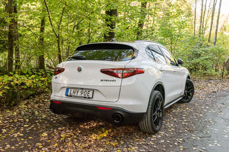 Mölndal, Sweden - October 17 2020: Alfa Romeo Stelvio Q4 parked by a forest road 新闻类图片