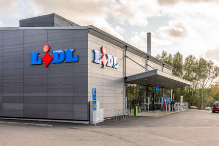 Gothenburg, Sweden - October 09 2020: Exterior of Lidl store at Kviberg