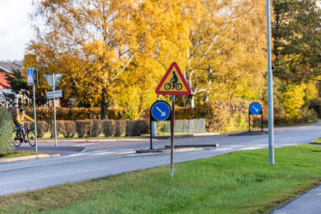 Mölndal, Sweden - October 24 2020: Sign of bicycle crossing near Åby