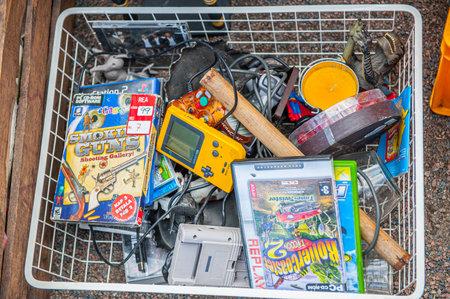 Gothenburg , Sweden - September 4 2010: Box of vintage toys and electronic games at a flee market