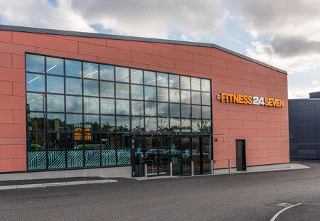 Gothenburg, Sweden - October 09 2020: Exterior of Fitness24Seven at Kviberg