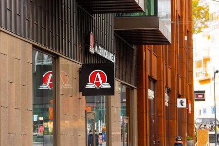 Mölndal, Sweden - October 24 2020: Logo of Akademibokhandeln outside Mölndals Galleria shopping mall