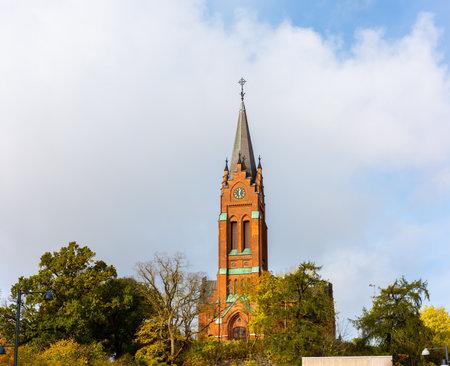 Mölndal, Sweden - October 24 2020: Fässbergs kyrka in Mölndal