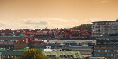 Gothenburg, Sweden - september 10 2020: Rooftop view over buildings in the city center