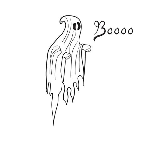 Boo cute ghost - Vector illustration
