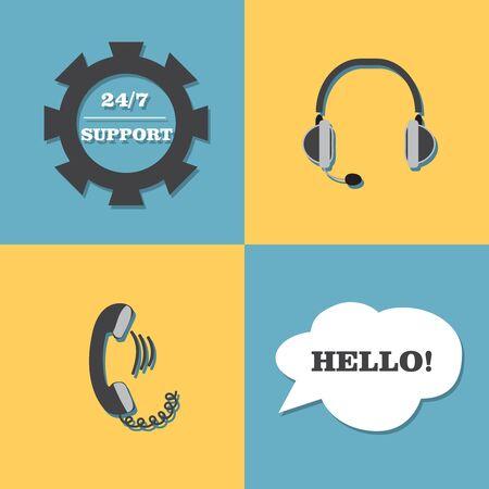 24 hour: support, call center set headphones 24 hour
