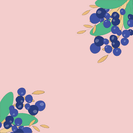 cute frame background and a bouquet of berries