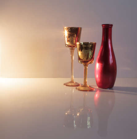Still Of Two Stem Glasses And An Empty Flower Vase Stock Photo