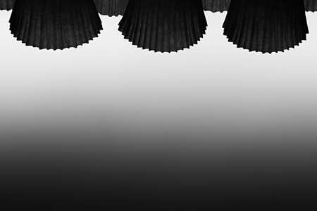 ribbed: The abstract black and white background with ribbed objects and gradient. Stock Photo