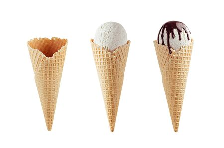 Set of different ice cream cones in waffle cone - empty, white ice cream, with chocolate sauce isolated on white.