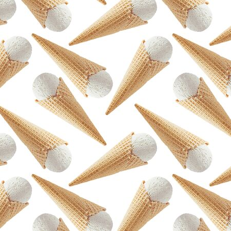 White creamy ice cream in crisp waffle cones as seamless decorative random pattern isolated on white background.