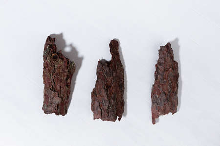 Pieces of old brown pine bark on white wooden board with shadow, top view, simple organic background. Imagens
