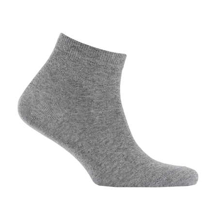 Blank gray cotton medium sock on invisible foot isolated on white background as mock up for advertising, branding, design, side view, template.