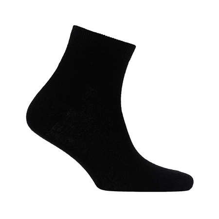 Blank black cotton medium sock on invisible foot isolated on white background as mock up for advertising, branding, design, side view, template. Zdjęcie Seryjne