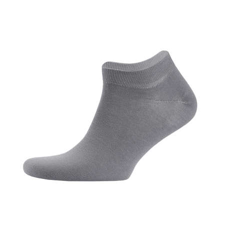 Blank gray cotton sport short sock on invisible foot isolated on white background as mock up for advertising, branding, design, side view, template.