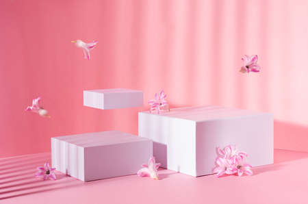 Bright spring mock up for cosmetic and product display with three white square podiums, tender hyacinth flowers flying in sun beam on pastel pink background.