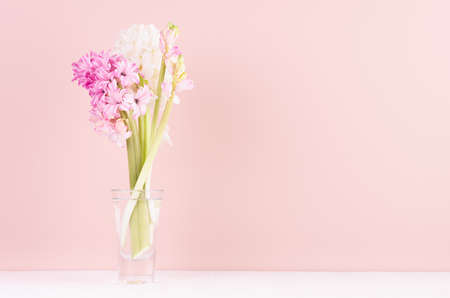 Soft light exquisite pink hyacinth flowers in glass vase on white wood table, romantic springtime background.