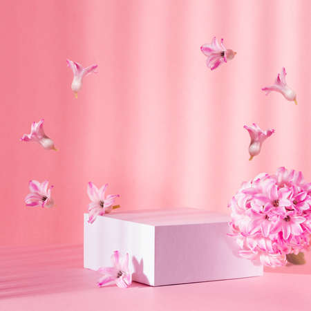 White square podium group for display cosmetic and goods with fresh spring flowers hovering as frame in sun beam on gentle pastel pink background, modern fashion style. 免版税图像